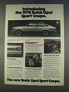 1978 Buick Opel Sport Coupe Ad