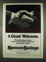 1977 Spencer Savings Ad - A Giant Welcome