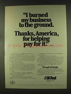 1977 The St. Paul Insurance Ad - Burned to the Ground