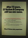 1977 E.F. Hutton Ad - After 73 Years