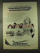 1977 Allegheny Airline Ad - Enjoy Hometown Touch