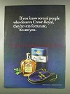 1977 Seagram's Crown Royal Ad - People Who Deserve