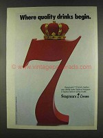 1977 Seagram's 7 Crown Whisky Ad - Quality Begin