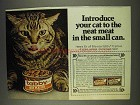 1977 Tabby Cat Food Ad - Neat Meat in Small Can