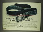 1977 Peters Cartridge Belt Buckle Ad - Blue Belt Back