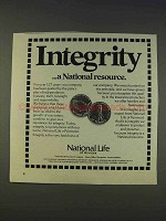 1977 National Life of Vermont Ad - Integrity