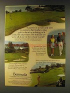 1976 Bermuda Tourism Ad - Man and Wife Play Golf