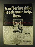 1976 Christian Children's Fund Ad - Suffering Child