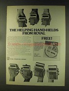 1976 Royal Calculators Ad - Helping Hand-Helds