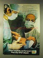 1976 Pampers Diapers Ad - More Hospitals Use