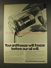 1976 Mobil 1 Oil Ad - Antifreeze Will Freeze Before