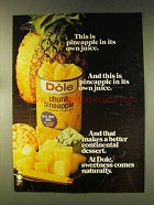 1976 Dole Chunk Pineapple Ad - In Its Own Juice