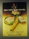 1976 Dole Banana Ad - Simple Summer Salads