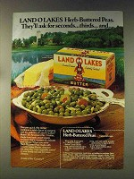 1976 Land O Lakes Butter Ad - Herb-Buttered Peas