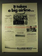 1976 Allegheny Airlines Ad - Takes a Big Airline