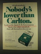 1976 Carlton Cigarettes Ad - Nobody's Lower Than