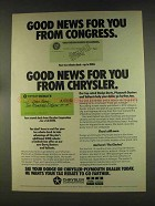 1976 Chrysler Corporation Ad - Good News From Congress