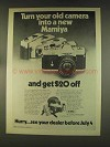 1976 Mamiya MSX 1000 Camera Ad - Turn Old Into New