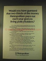1976 Metropolitan Life Insurance Ad - Two-Thirds Pays