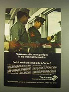 1976 U.S. Marines Ad - Earn The Same in Any Branch