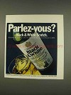 1976 Black & White Scotch Ad - Parlez-Vous?