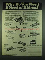 1978 Rhino Ad - Windrower, Rear Blade, Chisel Plows