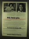1978 Christian Children's Fund Ad - P.S. I Love You