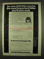 1978 Christian Children's Fund Ad - Imortant Letter