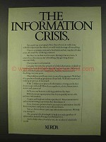 1978 Xerox Copiers Ad - The Information Crisis