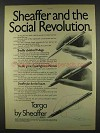 1978 Sheaffer Targa Pen Ad - the Social Revolution