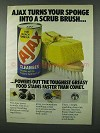 1978 Ajax Cleanser Ad - Sponge Into Scrub Brush