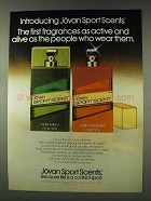 1978 Jovan Sport Scents Ad - Active and Alive