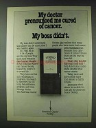 1978 American Cancer Society Ad - Doctor Cured