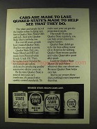 1978 Quaker State Oil Ad - Cars Made To Last
