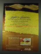 1978 Sara Lee Light 'n Luscious Cake Ad - Calories