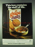 1978 Post Grape-Nuts Cereal Ad - The Staff of Life