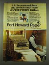 1978 Fort Howard Paper Ad - Join Waste Watchers
