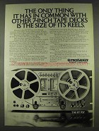 1978 Pioneer RT-707 Tape Deck Ad - Size of Its Reels