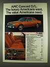 1978 AMC Concord D/L Ad - Luxury Americans Want