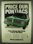 1978 Pontiac LeMans Ad - Price Our Pontiacs