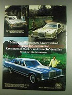 1978 Lincoln Continental, Mark V and Versailles Car Ad