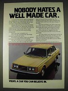 1978 Volvo Cars Ad - Nobody Hates Well Made
