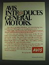 1978 Avis Rent-a-car Ad - Introduces General Motors