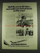 1978 Allegheny Airlines Ad - Fly you to 80 Cities