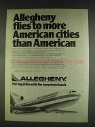 1978 Allegheny Airlines Ad - Flies to More Cities