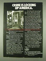 1978 Commercial Union Assurance Companies Ad - Crime is Locking Up