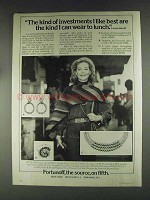 1979 Fortunoff Jewelry Ad - Lauren Bacall - investments