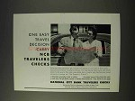 1955 National City Bank Travelers Checks Ad - Easy