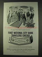 1959 First National City Bank Travelers Checks Ad - People Carry