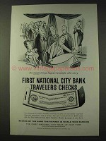 1959 First National City Bank Travelers Checks Ad